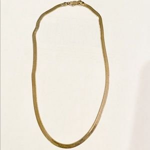 Thick Herringbone Chain 6 mm Gold Tone Necklace